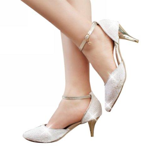 Bedel Voet Mode Pailletten Dames Hoge Hak Kleding Schoenen Wit