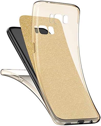 Qjuegad Kompatibel mit Samsung Galaxy S8 Klare Hülle,Ganzkörper-Vorder-und Rückseite Vollständiger Schutz Matte Glitzer Gel-Handytasche,Stoß-und wasserdichte Hülle und Displayschutzfolie,Golden
