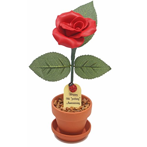 9th Wedding Anniversary Gift Potted Pottery Rose