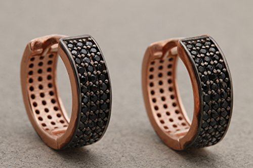 Turkish Handmade Jewelry Black Onyx Rose Gold 925 Sterling Silver Hoop Earrings - Onyx Rose Ring