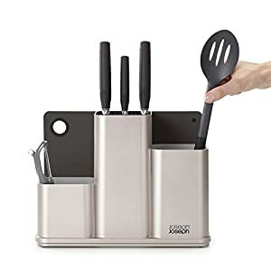 Joseph Joseph 85122 CounterStore Kitchen Utensil Holder Knife Block and Cutting Board Set, Silver