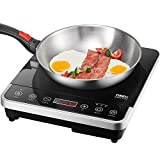 Cheap Portable Induction Cooktop Countertop Burner, Tibek 1800W Fast Heating Induction Burner with Durable Sensor Touch Panel, 10 Level Power and Temperature Setting, Easy to Use and Clean