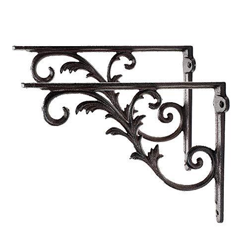 Sungmor Cast Iron Heavy Duty Shelf Brackets - Rustproof Sturdy 90° Right Angle Wall Hanging Support Board Hangers - 2PC Brown & 26CM/10.3IN. - Elegant & Decorative Corner Brace Joint Angle Bracket