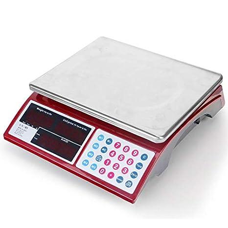 Camry 5kg/33lb Báscula de precios digitales para Alimentos con 37cm Plataforma de Pantalla Dual de LED Roja Brillante, Batería Recargable Incluido: ...