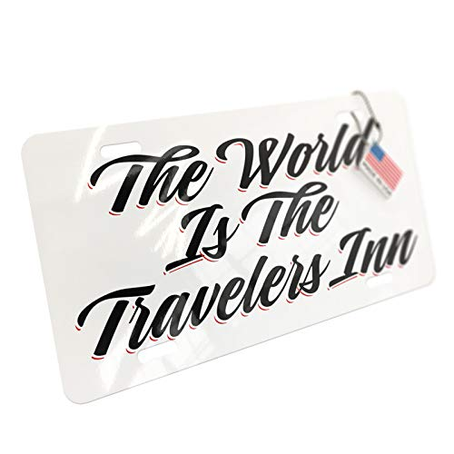 NEONBLOND Vintage Lettering The World is The Travelers Inn Aluminum License Plate