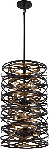 Minka Lavery Pendant Ceiling Lighting 4672-111 Vortic Flow, 6-Light 360 Watts, Dark Bronze