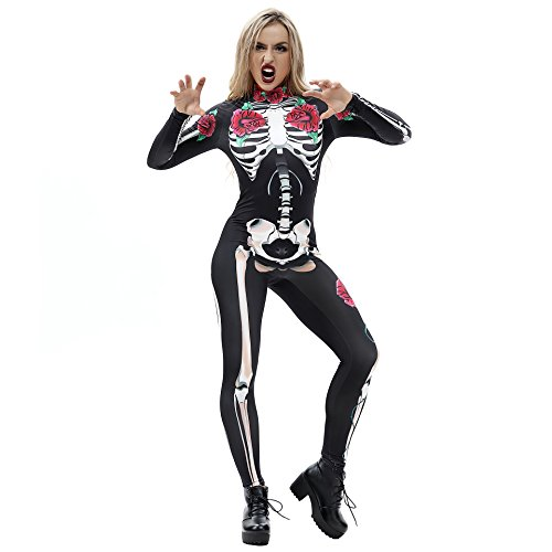 JJEUWE Women's Skeleton Halloween Bodysuit Costume Stretch Skinny Catsuit Jumpsuit S