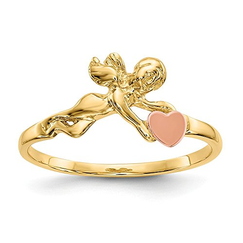 14k Two Tone Yellow Gold Angel Heart Band Ring Size 6.00 S/love Fine Jewelry Gifts For Women For ()