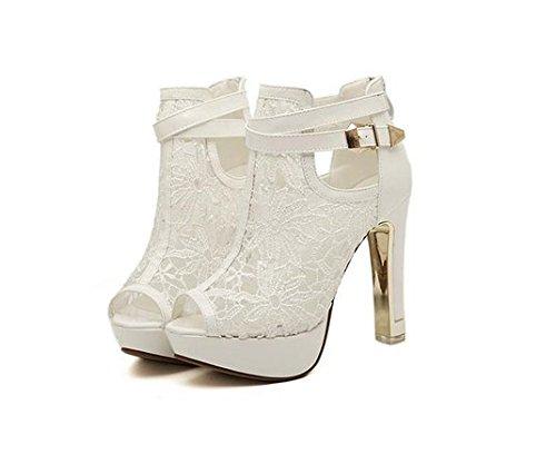 Damen Peep Toe Pumps Stiletto Sling Sandale mit Riemchen Sohle aus Metall Weiß Schwarz (38, Weiß)