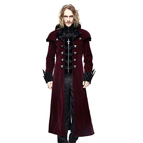 Devil Fashion Steampunk Gothic Men Long Coat Punk Winter Jackets Trenchcoats Halloween Costume Plus Size