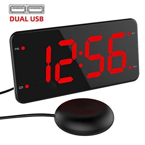 (Extra Loud Alarm Clock with Bed Shaker, Vibrating Alarm Clock for Heavy Sleepers, Deaf and Hard of Hearing, Dual Alarm Clock with USB Charger, 7-Inch Display, Full Range Dimmer, Battery Backup - Red)