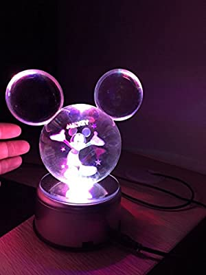 Clear K9 Crystal Ball Pokeball Night Lights 7 Color LED - Mickey Mouse Pokemon Pokeball with LED Rotary Lamp Base and Advanced 3D Laser Engraved