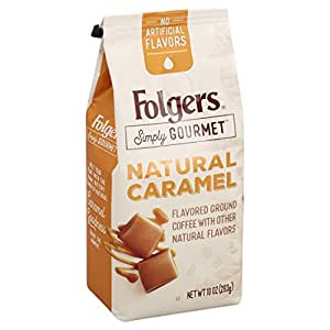 Folgers Simply Gourmet Flavored Ground Coffee with Other Natural Flavors, Caramel, 10 Ounce