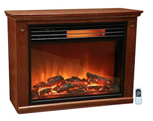 Electric Stove Heater, Premium Quality, Dark Oak Color, Fireplace Stove, Modern Design, Infrared Heat, Fire Effect, For Large Rooms, 5100 BTUs & E-Book Home Decor