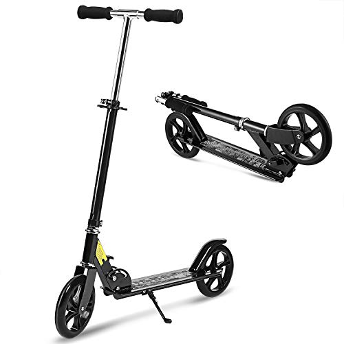 (Hikole Folding Scooter for Big Kids and Adult with Easy Fold-n-Carry Design | Portable Foldable Height-Adjustable Ultra-Lightweight Kick Scooter for Children Boys Girls Age 8 +)