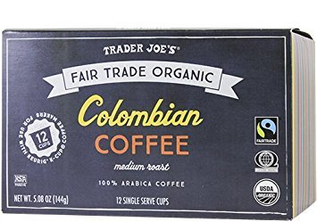 Trader Joe's Colombian Coffee Cups Fair Trade Primary 12 Cups