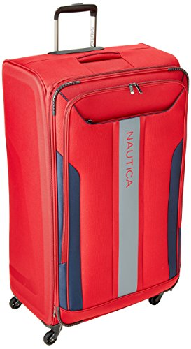 Nautica Gennaker 33 inch Expandable Luggage Spinner, Red/Navy by Nautica