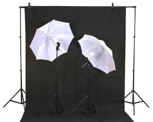 ePhoto Photography Portrait Video Home Studio Light Lighting Kit with Background Support Stand Carrying Case included by ePhotoINC TB69B