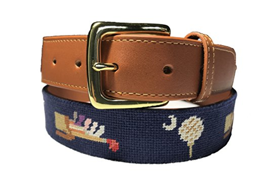 Charleston Belt Vintage Golf Navy Leather Needlepoint Belt With Hickory Clubs (36) ()