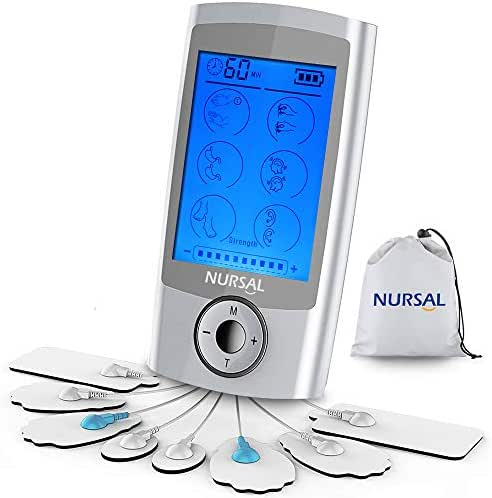 NURSAL TENS Unit Muscle Stimulator with 8 Electrode Pads, Rechargeable Electronic Pulse Massager for Pain Relief Therapy, Arthritis, Muscle Stiffness/Soreness and Aches, Perfect for Relaxation