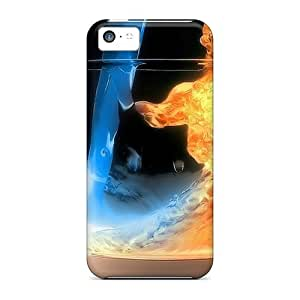 Awesome ZIgCHht3286TZAKr MeSusges Defender Tpu Hard Case Cover For Iphone 5c- Water Fire