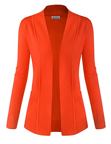 BIADANI Women Classic Soft Long Sleeve Open Front Cardigan Sweater Orange Large