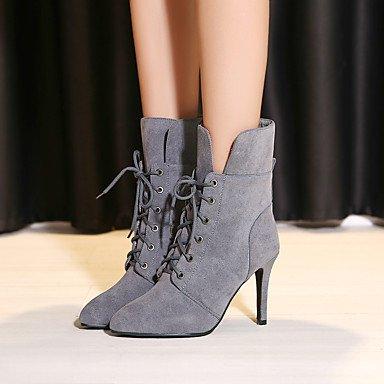 Cordón Vestido Tacón Zapatos Puntiagudo amp;M Moda Casual Stiletto Mujer Mitad Botas Botas Negro Invierno Semicuero de de Gemelo gray Con Para Dedo Heart wRxTEnqz7z