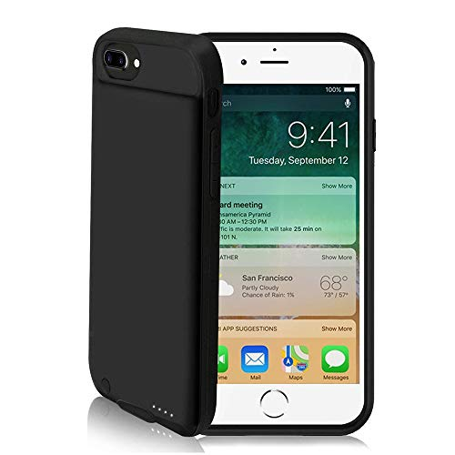 ZANYA iPhone 7 Plus Battery Case, 4000mAH Protective Charging Rechargeable Case for iPhone 8 Plus Portable Charger Extended Battery for iPhone 7/8 Plus Black (5.5 inch) ()
