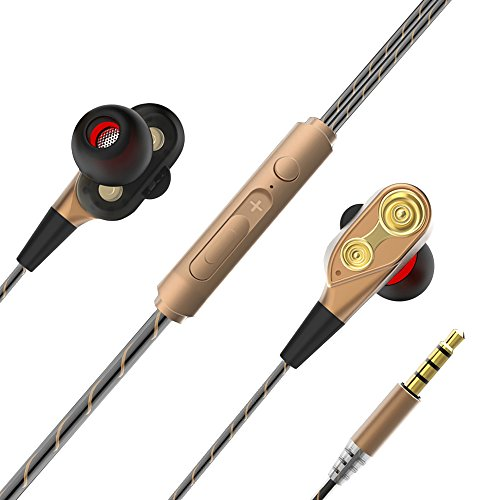 Wired Headphones Stereo In-ear Dual Drive Dynamic Earbuds Ea