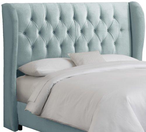 Skyline Furniture Velvet Tufted King Wingback Headboard, Pool - Upholstered Headboard Velvet Pool