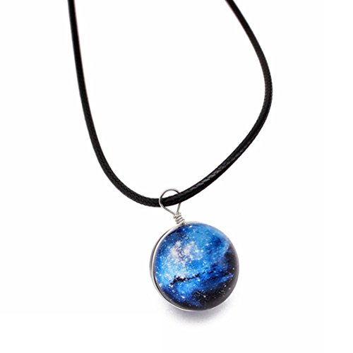 Elogoog Clearance! Retro Galaxy Glass Ball Pendant Necklace Jewelry, Crystal Ball Universe Choker Glow in the dark (D)