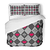 Emvency Bedding Duvet Cover Set Full/Queen Size (1 Duvet Cover + 2 Pillowcase) Red Alice Suits On Chess Wonderland Black Board Casino Check Checker Chessboard Hotel Quality Wrinkle