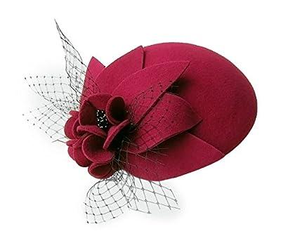 Lawliet Womens Socialite Flower Black Pearl Wool Felt Fascinator Pillbox Tilt Hat A044
