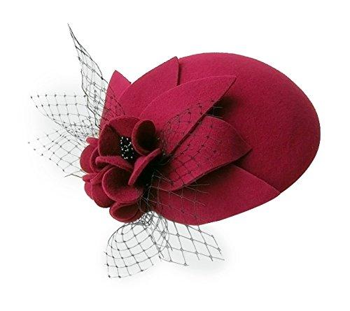 Womens Ladies Socialite Flower Black Pearl Wool Felt Fascinator Pillbox Tilt Hat A044 (Wine)