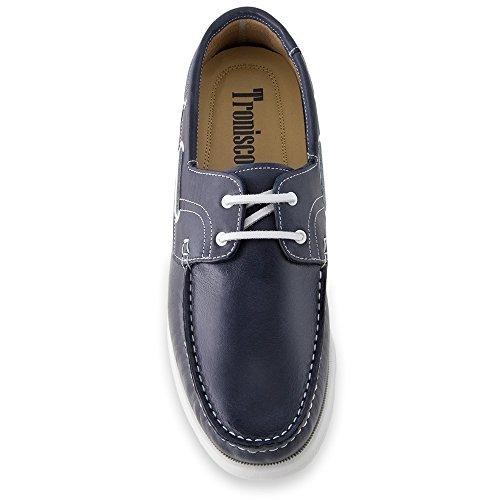 Masaltos Zapatos de Hombre con Alzas Que Aumentan Altura Hasta 7 cm. Fabricados EN Piel. Modelo Portonovo Azul