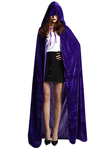 Satinior Unisex Full Length Hooded Cloak Adult Velvet Cape Halloween Party Cosplay Costume Cloak (M Size, Purple)