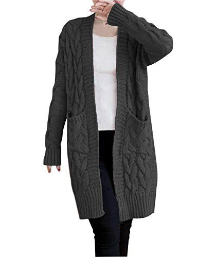 (NUTEXROL Women's Open Front Long Sleeve Knit Think Cardigan Chunky Sweater Dark Grey 2XL)
