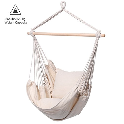 Finether Padded Hammock Hanging Chair Swing with Pillow Set for Indoor Outdoor Use, 265 lbs Weight Capacity, Beige (Round Porch Swing)