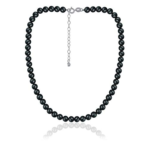 """Sea of Ice Hematite 6mm Round Beads Necklace 14"""" Plus 2"""" Extender with Sterling Silver Spring Ring Clasp"""