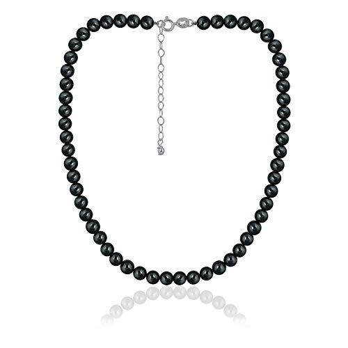 - Sea of Ice Hematite 6mm Round Beads Necklace 14