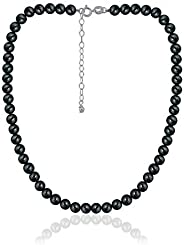 "Precious Gemstone 6mm Round Beads Necklace 14"" Plus 2"" Extender with Sterling Silver Spring"