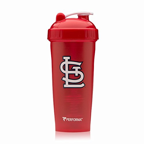 (PerfectShaker Performa - MLB Collection, Best Leak Free Bottle with Actionrod Mixing Technology for Your Sports & Fitness Needs! Dishwasher and Shatter Proof (Cardinals))