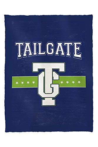 Monogram - Game Day - Blue and Green - Tailgate 51141 (60x80 Poly Fleece Thick Plush Blanket)