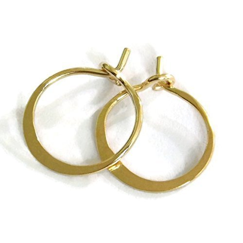 7e06bc10d Image Unavailable. Image not available for. Color: Small Solid 14K Gold  Hammered Flat Endless Classic Baby Hoop 10mm Earrings