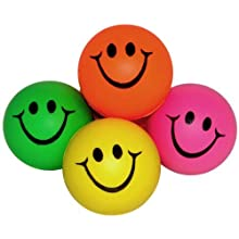 Mini Neon Smile Face Relaxable Balls (1 Dz) Assorted colors