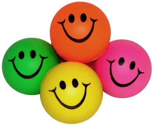 Squeezable Sport Ball (Mini Neon Smile Face Relaxable Balls (1 Dz) Assorted colors)