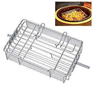 kbxstart Adjustable Rotisserie Basket, Stainless Steel Flat Rotisserie Basket with 4 Adjustable Thickness for Rotisserie Air Fryer Oven Roaster 8.3inch x 5.4inch x 2inch