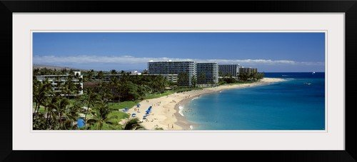 GreatBIGCanvas ''Hotels on The Beach Kaanapali Beach Maui Hawaii'' Photographic Print with black Frame, 36'' x 12'' by greatBIGcanvas