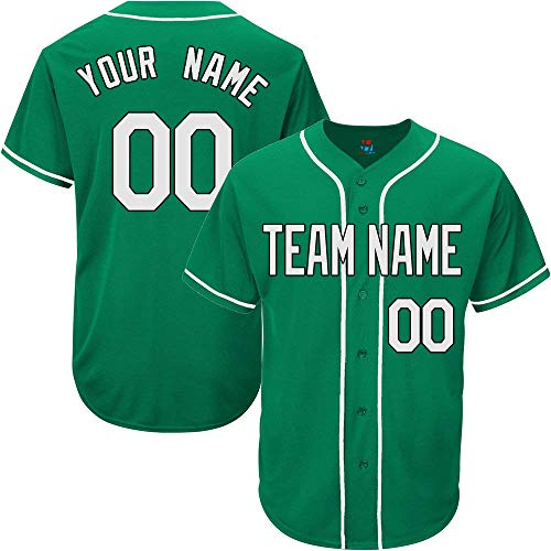 YNMYS Green Custom Baseball Jersey for Men Women Kids Full Button Mesh Embroidered Team Name & Numbers S-5XL