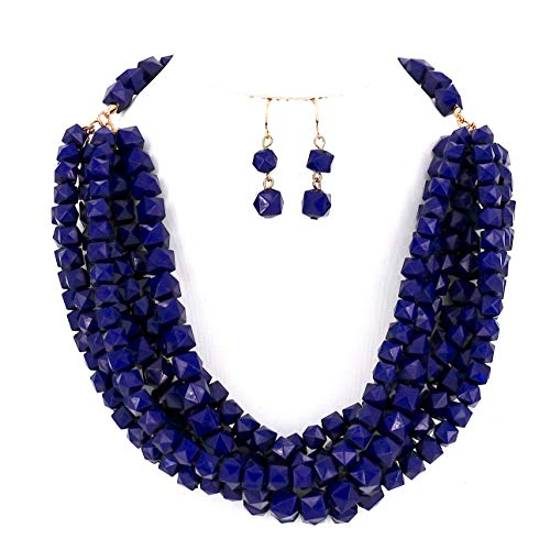 Women Jewelry Red Yellow Layered Beaded Statement Necklace and Earrings Set (Purple Blue)